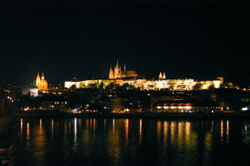 Night view from the Vltava bank