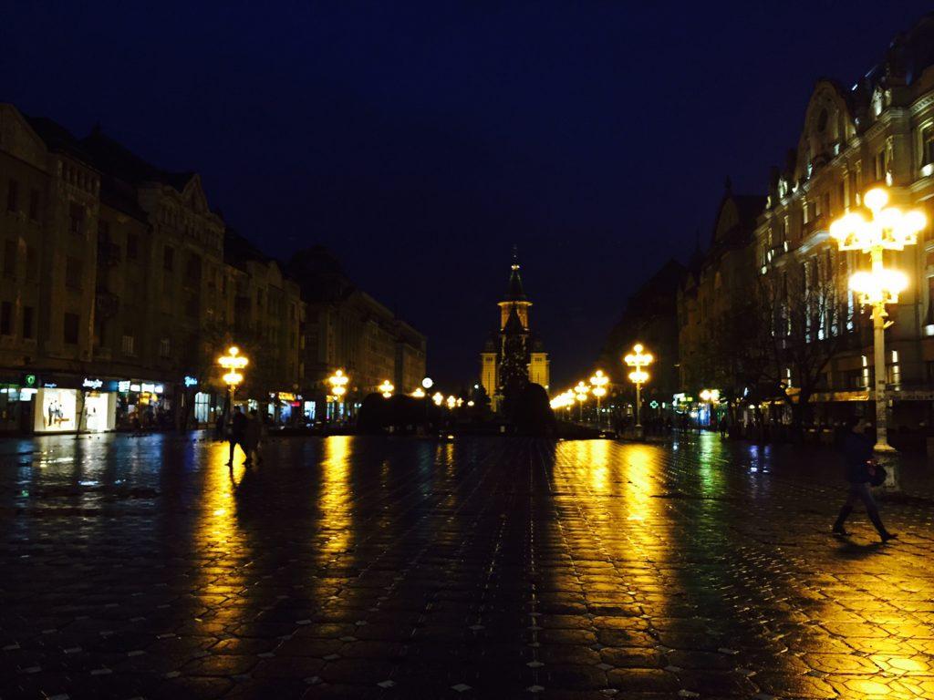 Timisoara - Martyr's square, Ortodox Cathdral in Background